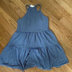 Blue striped halter dress